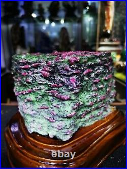 10.3LB Large/Heavy Extremely Rare Natural Ruby ZOISITE Quartz Crystal withSt m1205