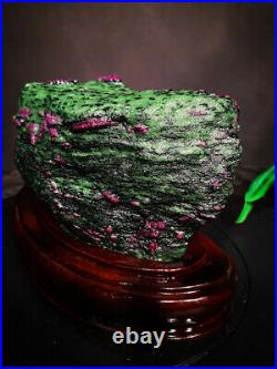 10.45LB Large/Heavy Extremely Rare Natural Ruby ZOISITE Quartz Crystal withSt m553