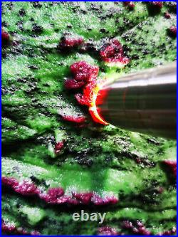 114LB Large/Heavy Extremely Rare Natural Ruby ZOISITE Quartz Crystal withSt m392