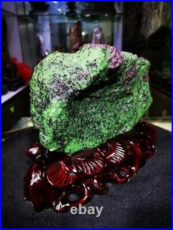 11.22LB Large/Heavy Extremely Rare Natural Ruby ZOISITE Quartz Crystal withSt m956