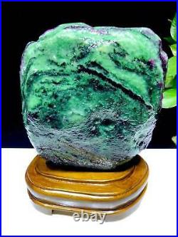 15.18LB Large/Heavy Extremely Rare Natural Ruby ZOISITE Quartz Crystal withSt m953