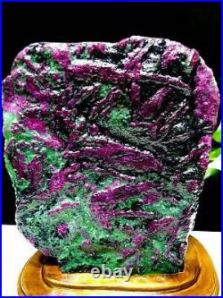 15.18lb Large/Heavy Extremely Rare Natural Ruby ZOISITE Quartz Crystal withSt