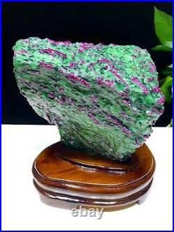 18.59LB Large/Heavy Extremely Rare Natural Ruby ZOISITE Quartz Crystal withSt M764
