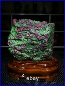 22.99LB Large/Heavy Extremely Rare Natural Ruby ZOISITE Quartz Crystal withSt m374