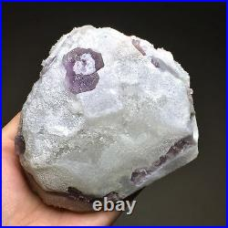 648g Extremely Rare Natural Deep Purple Trapezoidal Fluorite Based on the Quartz
