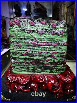 64.9LB Large/Heavy Extremely Rare Natural Ruby ZOISITE Quartz Crystal withSt m1053
