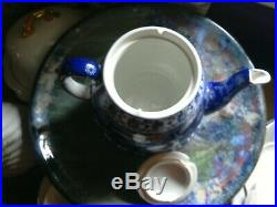An Amazing, Extremely Rare Shelley China, Cloisello Teaset For Four, Mint Teapot