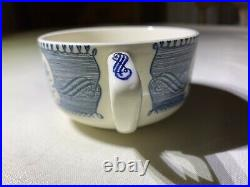 Currier & Ives Blue Royal China Extremely Rare Indented Luncheon Plate with Cup