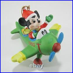 Disney Grolier Porcelain Ornament Mickey On Airplane Dated 1989 Extremely Rare