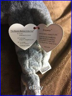 EXTREMELY RARE TY Beanie Babies Original Retired Slippery the Seal With Errors