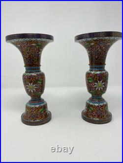 Exquisite pair of Gu-shaped cloisonné vases Extremely Rare! Amazing