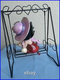 Extremely Rare Collectible Betty Boop Porcelain Glass Figurine Withdog On a Swing