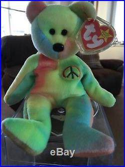 Extremely Rare Errors Ty Beanie Babies Peace Bear With Tag 1996 Retired