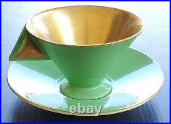 Extremely Rare Shelley China Art Deco Vogue Green Gold Teacup And Saucer Set