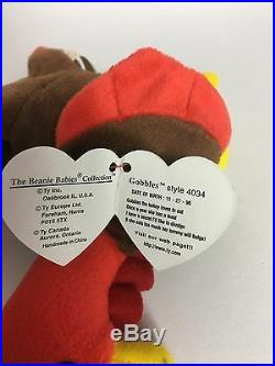 Extremely Rare Ty Gobbles Beanie Babies with Multiple Errors Original