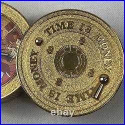 Extremely Rare! Walt Disney Scrooge McDuck Time is Money Brass Vault Coin Clock