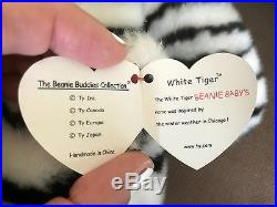 Extremely Rare White Tiger Original Beanie Buddy- Retired. Perfect Condition