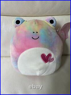 NWT Squishmallow 8 Tie Due Rainbow Wendy Frog Rare Extremely Hard To find