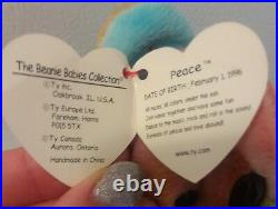 Peace TY Beanie Baby with Tags 4053 Extremely Rare Errors- 1996 Retired