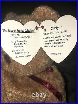 Ty Beanie Babies Curly The Bear Plush ERROR EXTREMELY RARE