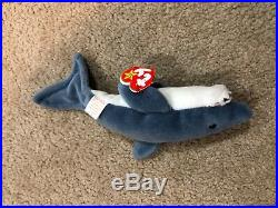 Ty Beanie Babies Extremely RARE Original Crunch The Shark 1996 With Errors