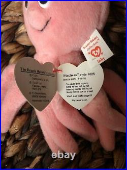 Ty Beanie Babies INKY the Octopus, PVC PINCHERS SWING TAG EXTREMELY RARE
