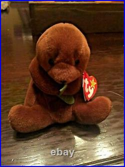 Ty- Beanie Baby Seaweed The Otter- With Errors EXTREMELY RARE! PVC Pellets