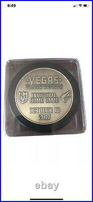 Vegas Golden Knights Inaugural Bronze Puck Home Opener Extremely Rare 10/10/17
