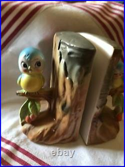 Vintage Extremely Rare Anthropomorphic Norcrest Bluebird Tree Trunk Book Ends